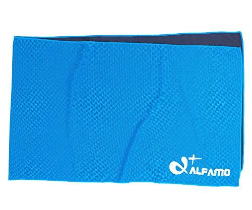 Alfamo kühlendes Handtuch für Sport, Workout, Fitness, Fitnessstudio, Yoga, Pilates, Reisen, Camping und mehr, blau, Small (33x11-Inch)