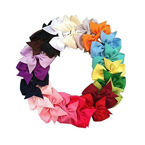 Pixnor 20 Farben Boutique Haar Bögen Girls Kids Alligator-Clip Grosgrain Ribbon Haar-Clips