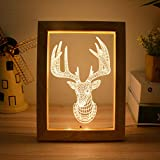 BedolioUSB Night Lights Plafoniere in legno massello Luci Lucia Wood Oak Albums Lampade da tavolo 3D, 2