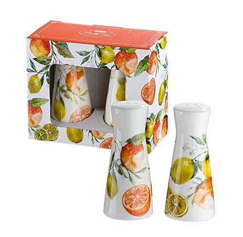 GILDE Salz und Pfefferstreuer 2er Set aus Knochenporzellan im Zitronen & Orangendesign