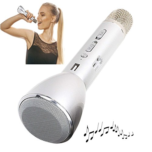 Karaoke Mikrofon mit Bluetooth Lautsprecher Echo Sound Effekt Wireless (Kabellos, Akku, USB-Anschluss, Smartphone, PC, Tablet) (Karaoke Sound)