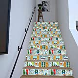 Stickers Escalier Décoration De Noël Autocollant -Christmas dress up stairs with festive windows-A2_18x100cmx13pcs