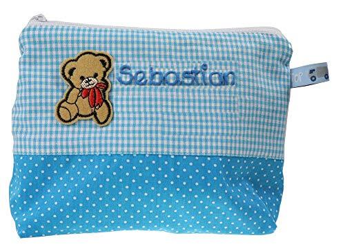 Waschtasche mit Namen und Teddy Bär - Waschbeutel für Kinder - Kulturbeutel aus Baumwolle personalisiert, MN_Farbe:türkis
