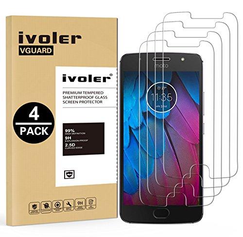 ivoler [4 Stücke] Panzerglas Schutzfolie für Motorola Moto G5s, 9H Härte, Anti- Kratzer, Bläschenfrei, [2.5D Runde Kante]