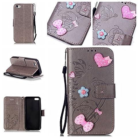 Handyhülle für iPhone 5 5C, BONROY® PU Leder Hülle Flip Case Booklet Geldbörse mit Standfunktion, Kartenfach & Weich TPU Innere - Pink Love