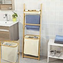 sobuy frg88 mi tagre chelle pour salle de bain en bambou porte serviettes - Etagere Echelle Salle De Bain