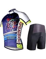 Cyclisme Tight Short Sleeve Jersey Short Pants Set Polyester respirant rapide Dry imperméable à l'eau des bicyclettes des hommes Short inférieur pour l'été Printemps Automne