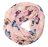 MANUMAR Loop-Schal für Damen | Hals-Tuch in rosa gelb mit Schmetterling Motiv als perfektes Herbst Winter Accessoire | Schlauchschal | Damen-Schal | Rundschal | Geschenkidee für Frauen und Mädchen