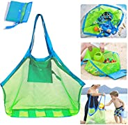 AMERTEER Mesh Beach Bag, Extra Large Beach Bags and Totes Tote Beach Toys Towels Sand Away Children' Toys Mark
