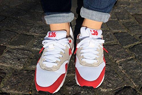 Lacets PLATS À EMBOUTS COLORÉS (5 modèles et 6 longueurs) - PINROLL lacets pour sneakers et baskets de qualité Blanc embouts rouges