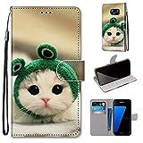 Miagon Flip PU Leder Schutzhülle für Samsung Galaxy S6,Bunt Muster Hülle Brieftasche Case Cover Ständer mit Kartenfächer Trageschlaufe,Frosch Katze