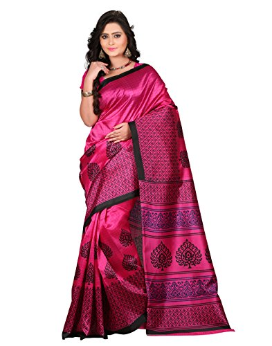 e-VASTRAM Women\'s Art Mysore Printed Silk Saree(NS2C_Pink)