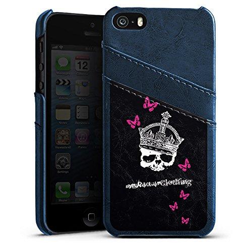 Apple iPhone 4 Housse Étui Silicone Coque Protection Tête de mort Crâne Couronne Étui en cuir bleu marine
