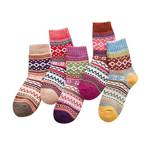 Merino Wolle Quarter Socken (Oyedens Unisex Crew Socks Socken Sportsocken MIT FROTTEESOHLE 5er Pack Wolle Socken (Mehrfarbig_#A))