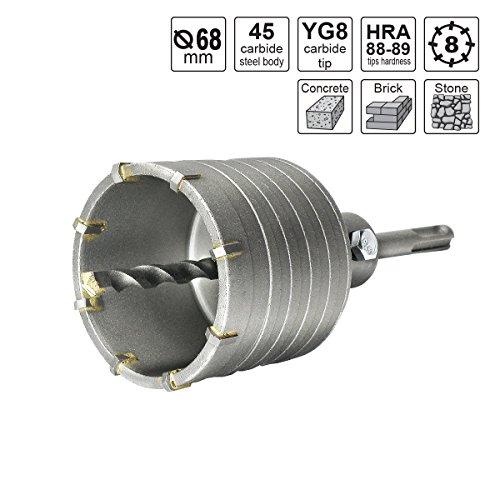 S&R Hohl-Bohrkrone Set Ø 68mm mit SDS plus Adapter 110mm und Zentrierbohrer 8x110mm. Hammerschlagfest, Dosenbohrer