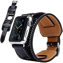 + Wrist Bracelet Connectors Black Leather Strap Buckle Replacement Apple Watch and 2 42 mm