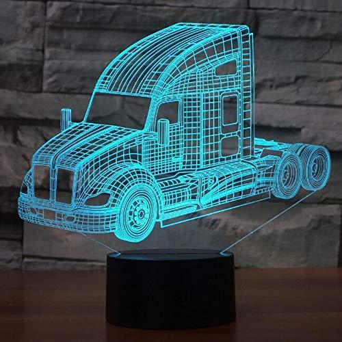 Lkw Bus Mixer Container Truck Firetruck 3D Led Nachtlichter Für Kinder Touch Usb Tischlampe Nachtlicht
