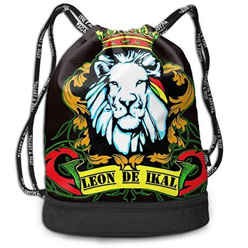 HLKPE Old Flag of Ethiopia Lion of Judah Rastafarian Reggae Crown Drawstring Bag for Men & Women - Large Storage Waterproof Cinch Backpack Sackpack Tote Sack for Gym Travel