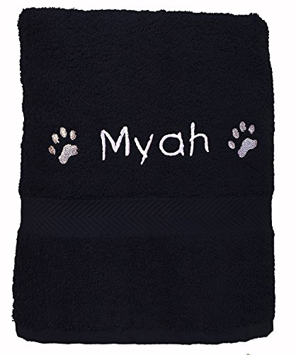 Spoilt Rotten Pets Personalised Paw Print Dog Bath Towel 130cm x 70cm (Black)