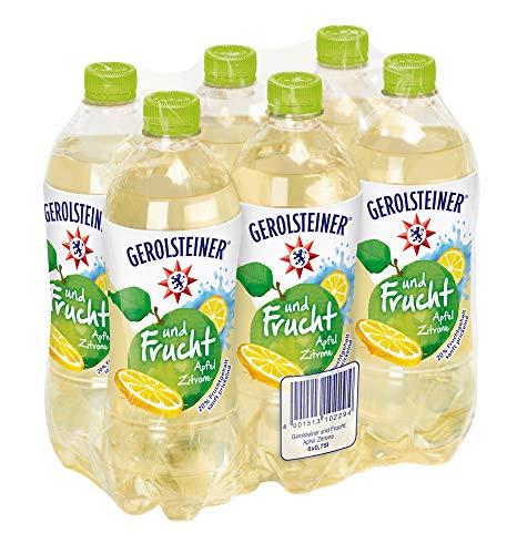 Gerolsteiner und Frucht Apfel Zitrone / Natürliches Mineralwasser mit prickelnder Kohlensäure - mit 20% Fruchtsaftgehalt aus Äpfeln und Zitronen / 6 x 0,75 L PET Einweg Flaschen - Natürliches Mineralwasser