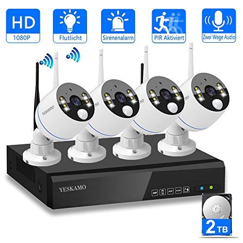 YESKAMO Funk Überwachungskamera Set Flutlicht Aussen WLAN mit 8CH 1080P und 4 STK 2.0MP Draussen WiFi Kameras 2TB Festplatte für Hausalarmanlagen mit Bewegungserkennung (NVR+8CH+4 PIR cams) Pir-cam