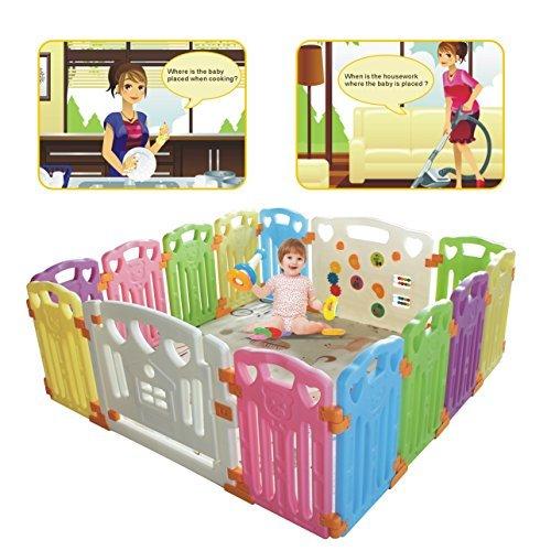 Bebé playpen-Bolígrafo de seguridad centro de actividades para niños,Parque de bebé para uso en interiores y exteriores (multicolor, 14 piezas)