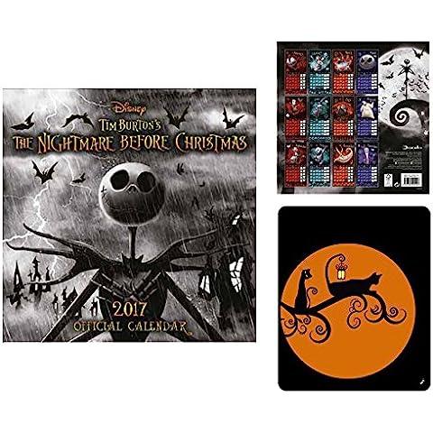Set: The Nightmare Before Christmas, Calendario Ufficiale 2017 (30x30 cm) E 1x Tappetino Per Mouse (Animated Christmas Decor)