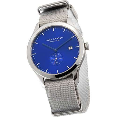 Lars Larsen LW29 Men's Quartz Watch with Blue Dial Analogue Display and Grey Fabric Strap 129SDMN