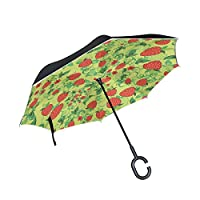 JSTEL Double Layer Inverted Strawberries With Leaf Umbrella Cars Reverse Windproof Rain Umbrella for Car Outdoor With C Shaped Handle