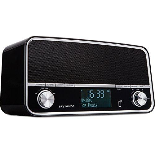Sky Vision DAB Radio 50 S - Retro Digital Radio und Bluetooth Stereo Lautsprecher in Einem, USB Ladegerät, Wecker, DAB+, FM/UKW Tuner (Schwarz)