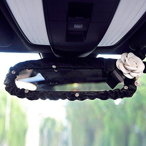 Inebiz Auto-Innenrückspiegelhülle, schöne Kamelia, elastisch, Leder, mit glänzenden Strasssteinen