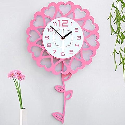 XY&GK Clock silent mute living room modern minimalist clocks and creative fashion flowers children's cartoon wall clock pink,beautify your home