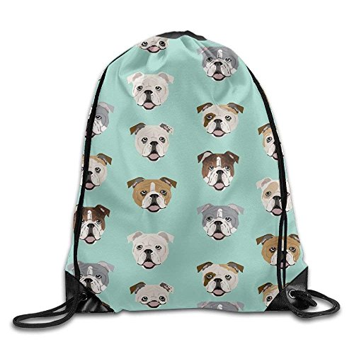 guolinadeou English Bulldog Faces Fabric Cute Mint Dog Face Design.jpg Print Drawstring Backpack Rucksack Shoulder Bags Gym Bag Sport Bag