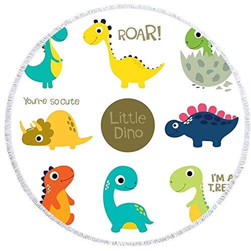 DOLDT1 Runder Teppich, Anime Dinosaur Style Bedruckte Quaste Fußmatte, Schlafzimmer, Kinderspielzimmer, Yoga Baby Krabbeldecke Spieldecke Boden 150cm Komfortabel und schön (Color : 6, Size : 150CM)