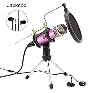 jacksoo home studio micro condensateur avec couteurs oreillettes pied de micro pour iphone. Black Bedroom Furniture Sets. Home Design Ideas