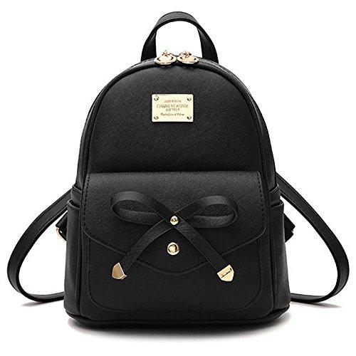 TKSTAR Backpack Rucksack Damen, Mini Niedliche Lederrucksack für Beste Geschenk an Freund Mädchen Dekorative Paket Schwarz