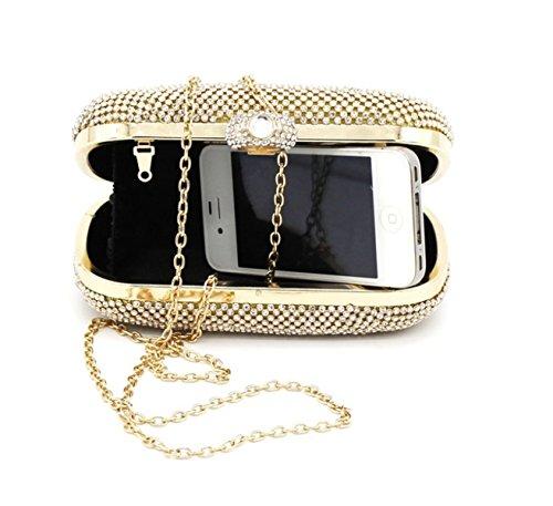 Party Bag Fashion Casual Sera Delle Signore Borsa Due Lati Punta Di Diamante Della Catena Della Spalla Gold