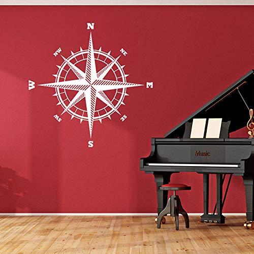 hllhpc Kompassrose Der Seemann Vinyl Aufkleber Für Wände Nord Südosten West Westen Kompass Vinyl Wandaufkleber Nautische Thema Dekor 42X42 cm - Weihnachten Nautische
