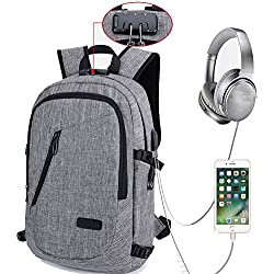 """Laptop Backpack, Travel Computer Bag for Women Men, Anti Theft Water Resistant College School Bookbag, Slim Business Backpack w/ USB Charging Port Fits UNDER 17"""" Laptop Notebook by Mancro -Grey"""