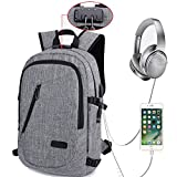 Laptop Backpack, Travel Computer Bag for Women Men, Anti Theft Water Resistant College School Bookbag, Slim Business Backpack w/ USB Charging Port Fits UNDER 17