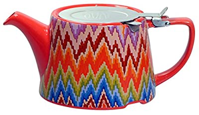 Kitchen Craft London Pottery Company Kaffe Fassett Oval-Filter en céramique Infuseur Théière, 800 ML (82,8 cl) – Flamme Stitch