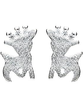 MYA art Weihnachts Ohrringe Ohrstecker 925 Silber Rentier mit Swarovski Elements Kristall Steinchen Klein für...