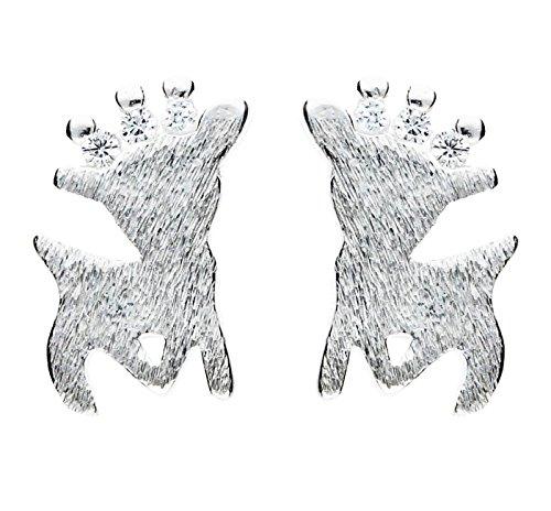 MYA art Weihnachts Ohrringe Ohrstecker 925 Silber Rentier mit Swarovski Elements Kristall Steinchen Klein für Damen Mädchen MYASIOHR-27B (Rentier-schneekugel)