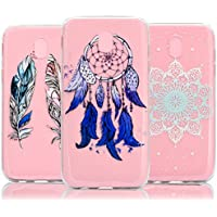 3 X Galaxy J3 2017 (EU Model) Case, Galaxy J3 2017 (EU Model) Cover, Vandot 3 Packs Lightweight & Slim Fit Colorful HD Printing Pattern Soft Flexible TPU Transparent Clear Silicone Back Cover Rubber Bumper [Drop Protection / Shock-Absorption] Protective Case for Samsung Galaxy J3 J330 2017 - Feathers / Dreamcatcher / Mandala Datura