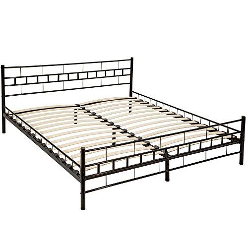 Tectake letto metallo con rete struttura matrimoniale moderno - modelli differenti - (180x200cm, nero)