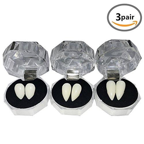 (YOUOR 3 Pairs Vampire Teeth Fangs Dentures Halloween Cosplay Props Party Favors)