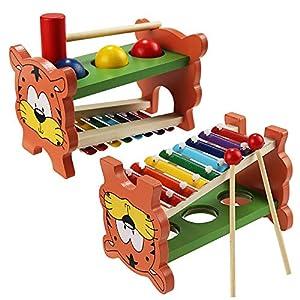 Buyi-World Percussioni per Bambini Strumenti Musicali Giocattolo in Legno, 2-in-1 Giochi Educativi c...