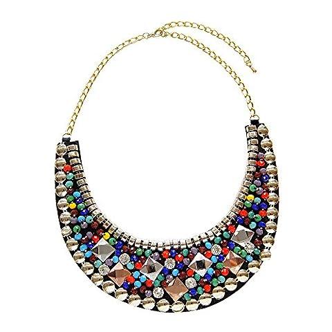 Timando Damen-Kette Filz-Kragen mit bunten Perlen & Steinen verziert