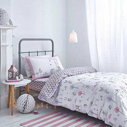 Bianca Cotton Soft Nordic - Bettwäsche-Set - Bettdecken- & Kissenbezug - 100% Baumwolle - Nordisches Muster - Rosa - Einzel (Bettdecke Bettwäsche Ensembles)