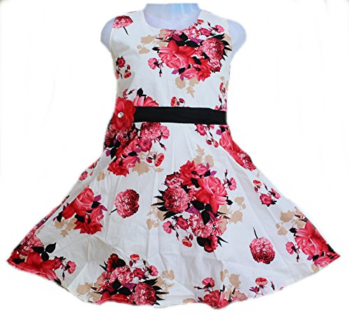 Girls daily wear Cotton dress Girls frock by Kashvi (Red, 2-3 Years)